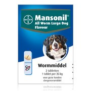 Mansonil All Worm Large Dog Flavour 2 tablets